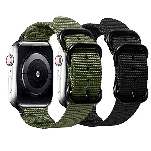 Watpro Compatible with Apple Watch Band 38mm 40mm 42mm 44mm Women Men Nylon Rugged Replacement iWatch Band Military-Style Buckle Grey Adapters for Sport Series 6 5 4 3 2 1 SE (2-Black+Army green,)