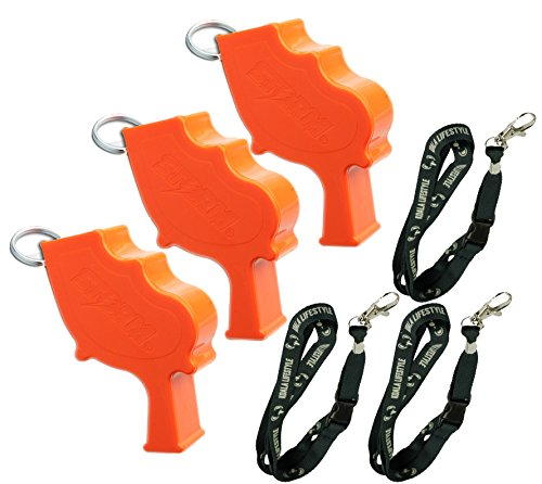 Storm World's Loudest Outdoor, Emergency, Safety, Marine, Police, Underwater, Survival Whistle | Proudly American Made | 3 Whistle Bundle + Koala Lanyards, Orange