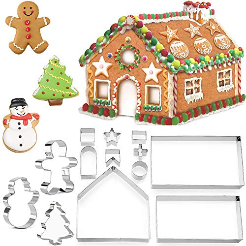 KAISHANE Christmas Gingerbread House Cookie Cutters 3D Stainless Steel Biscuit Cake Fondant Pastry Cutter Bakeware Set 13 Pieces(Include Gingerbread Man, Snowman, Tree)