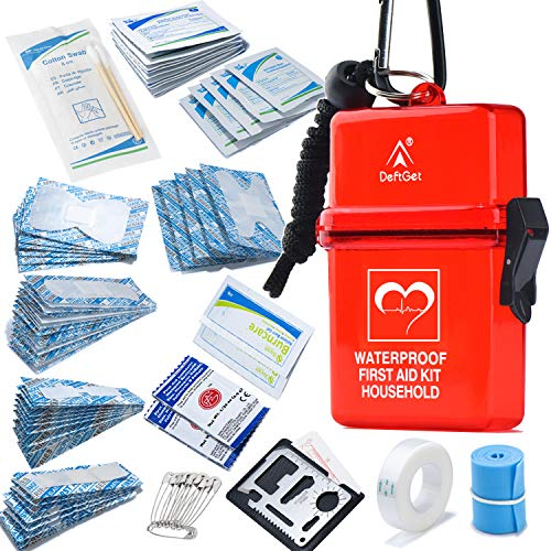 DEFTGET Waterproof First Aid Kit with Mini, Durable, Lightweight Construction, Bandages for Minor Injuries While Camping, Hiking and Outdoor Survival IFAK(Dark-red)