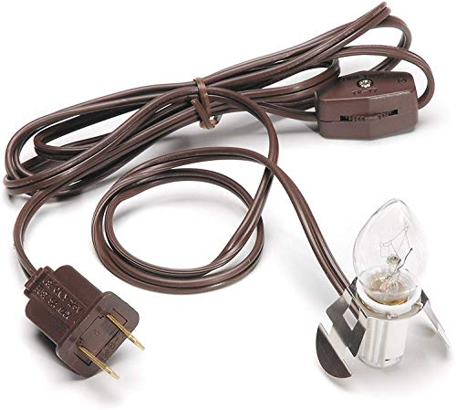 Darice Accessory Cord with One Bulb Light, 6' Cord, Brown – Single Bulb Replacement Cord with On/Off Switch, Plugs into Electrical Outlets, Perfect Craft and Holiday Blow Mold Light
