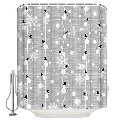 Merry Christmas Shower Curtain, Snowman and Snowflake on Grey Background Digital Print, Fabric Bathroom Decor with Hooks, 72 x 84 inches