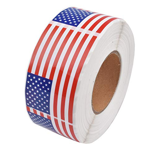 OTOBK 500 American Flag Sticker Labels, USA Flag Sticker Roll, Patriotic Adhesive Decal (Each 2.1'x 1.25')