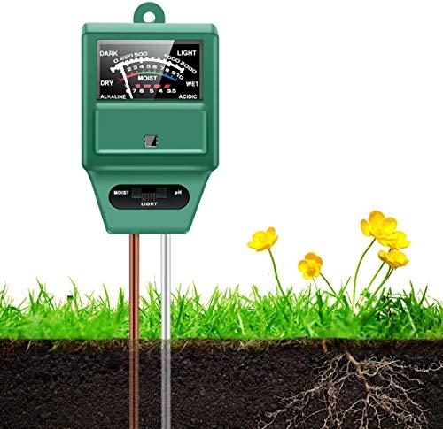 AdiayhShop Soil pH Meter 3-in-1 Soil Tester Moisture, Light, pH, Meter Tool for Garden, Farm, Plant, Outdoor, Indoor, Lawn Care, Water Soil, Soil Hygrometer Sensor for Gardening, Test Kit for Garden