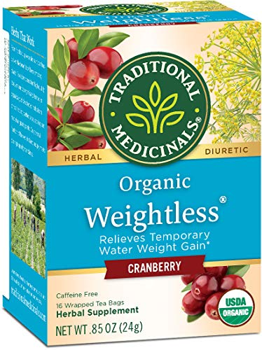 Traditional Medicinals Organic Weightless Cranberry (Pack of 1), Relieves Temporary Water Retention & Bloating, 16 Tea Bags
