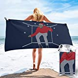 Hotline Bling Santa Drake Dancing Christmas Knit Pattern Microfiber Large Beach Towel, Convenient and Foldable, Equipped with Carabiner for Easy Storage, Soft Bath Towel, Quick-Drying Shower Towel