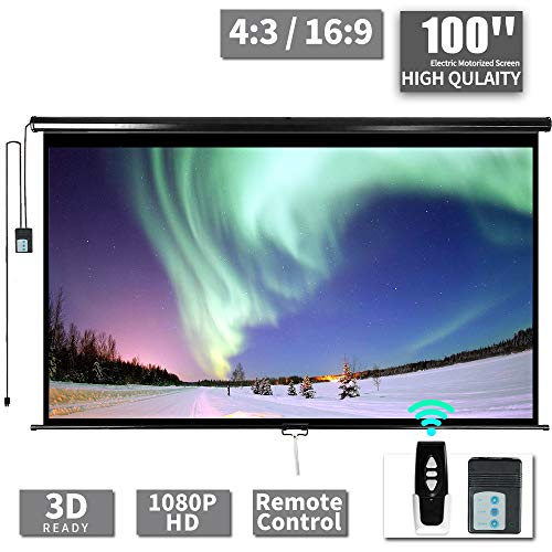 100' Motorized Projector Screen - Indoor and Outdoor Movies Screen 100 inch Electric 16:9 Projector Screen W/Remote Control