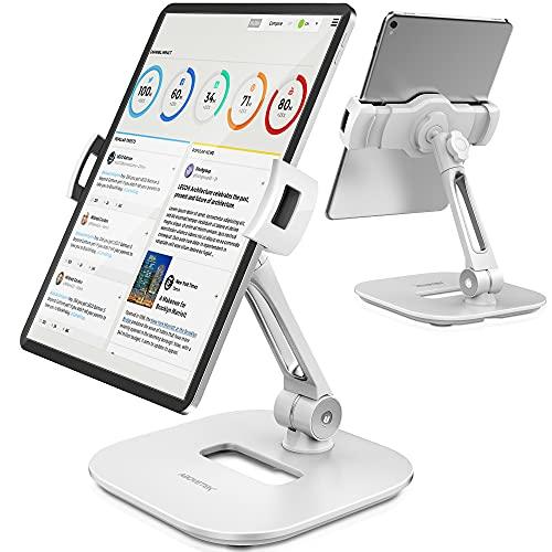 AboveTEK Stylish Aluminum Tablet Stand, Cell Phone Stand, Folding 360° Swivel iPad iPhone Desk Mount Holder fits 4-11' Tablets/Smartphones for Kitchen Bedside Office Table POS Kiosk Showroom(White)