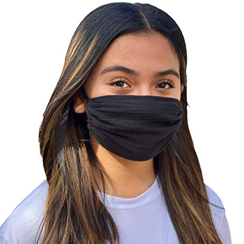 Adult Face Mask, Breathable, Single Layer, Cotton, Lightweight, Adjustable, and Reversible (Black)