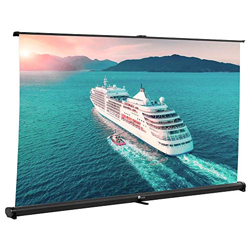 Projector Screen, Indoor Outdoor Portable Movie Screen Pull Down 32 Inch Diagonal 16:9 HD Projection Manual with Auto Lock, Table-Top Matte White Fabric for Home Theater Cinema Office Presentation