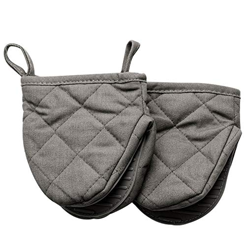 OKINDOLIFE Mini Oven Mitts Small Half Oven Gloves Set Little Silicone Grabber Cooking Mitts Pair Heat Resistant with Non-Slip Grip and Hanging Loop (Grey 5''W 5.2' L)