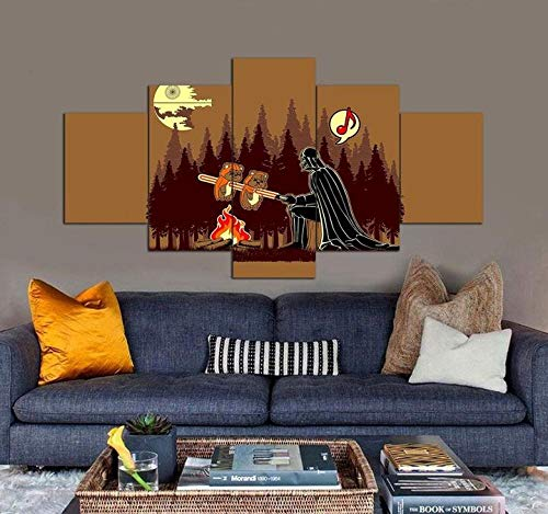 YUJEJ801 Canvas Pictures for Living Room Darth Vader BBQ 150X80CM No Frame Multi Panel Modern Art Print for Walls Decoration Contemporary Home Wall Artwork
