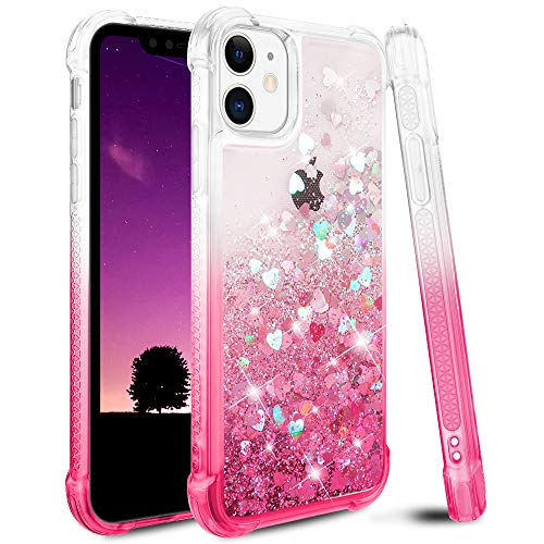 Ruky iPhone 11 Case, iPhone 11 Glitter Case, Gradient Quicksand Series Glitter Flowing Liquid Floating Soft TPU Bumper Cushion Girls Women Phone Case for iPhone 11 6.1 inches 2019 (Gradient Pink)