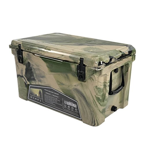 Xspec 60QT Quart Roto Molded High Performance Cooler, Camouflage, Pro Tough Outdoor Ice Chest, Durable Stylish Rotomolded with Bottle Openers, with Vacuum Release Valve and Easy Snap Tight Latches