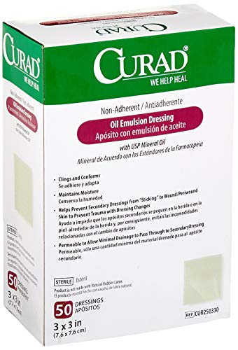 Curad - CUR250330 Sterile Oil Emulsion Non-Adherent Gauze Dressing, 3x3 inches, for Minor Burns, Abrasions, 50 Count