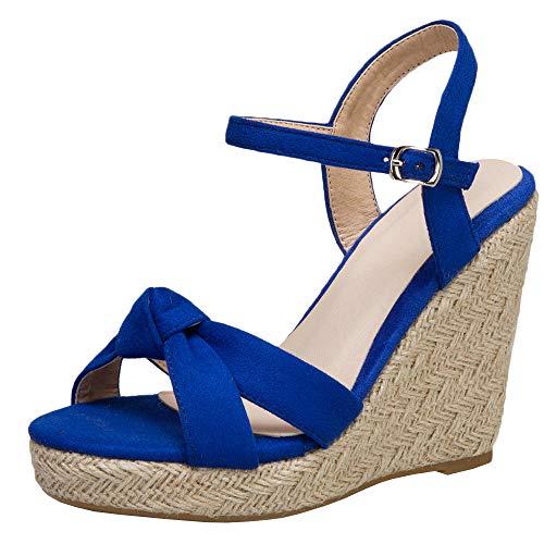 LUXMAX Womens Espadrille Wedge Sandals Platform Open Toe Ankle Strap Pumps, Size 11.5 M US,Royal Blue