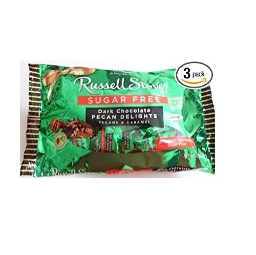 Russell Stover Sugar Free Dark Chocolate Pecan Delights 10 Oz (Pack of 3)