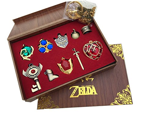 The Legend of Zelda Twilight Princess & Hylian Shield & Master Sword finest collection sets keychain / necklace / jewelry series (Red-10set)