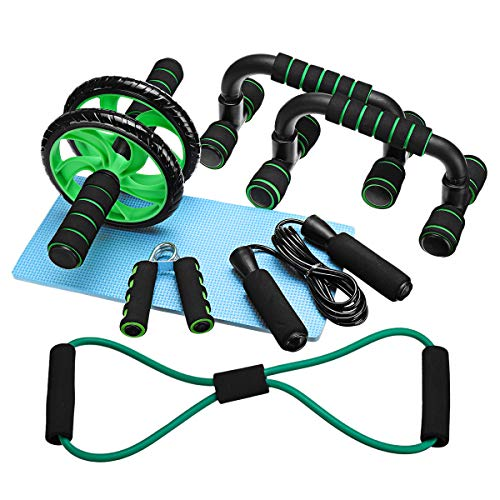 Pumoes 6-in-1 Ab Wheel Roller Kit,AB Roller Pro with Resistant Band,Pad Push Up Bars Handles Grips, Home Workout Gym Equipment for Men Women Fitness Abdominal Exercise Black 6PCS