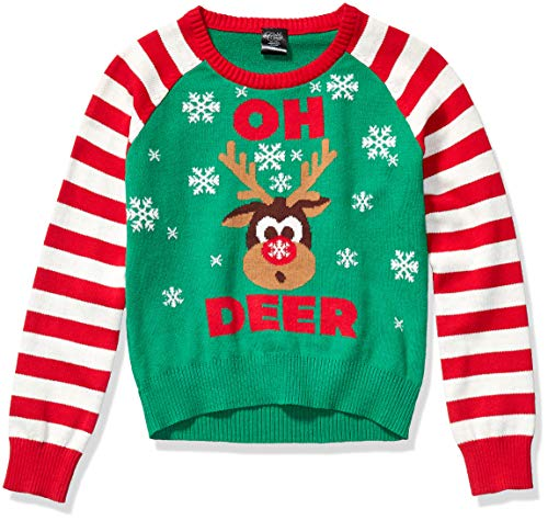 Cold Crush Girls' Ugly Christmas Sweater, Reindeer/Green, X-Large (14/16)