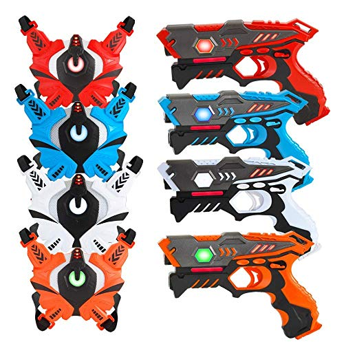 VATOS Infrared Laser Tag Gun Set for Kids Adults with Vests 4 Pack,Laser Tag Game 4 Players Indoor Outdoor,Laser Tag Blaster,Group Activity Fun Toy for Kids Age 6 7 8 9 10 11 12+ Boys Girls