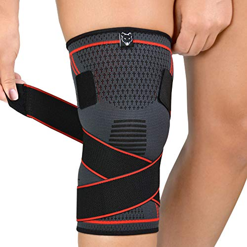 Knee Compression Sleeve - Adjustable Knee Wrap for Crossfit, Powerlifting, Basketball, Soccer, Running - Provides Pain Relief & Patella Support for Men & Women with Arthritis & Knee Injury (Medium)
