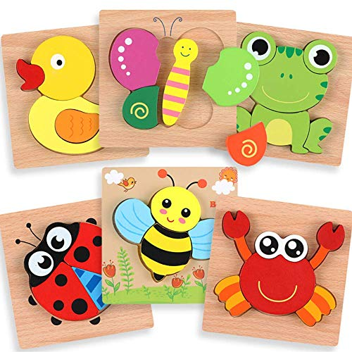 Wooden Puzzles for Toddlers - Educational Playset in Animal Pattern Shapes with Vibrant Colors, Set of 6 Brain Building Peg Puzzles for Boys and Girls Ages 1 2 3 with Drawstring Storage Bag