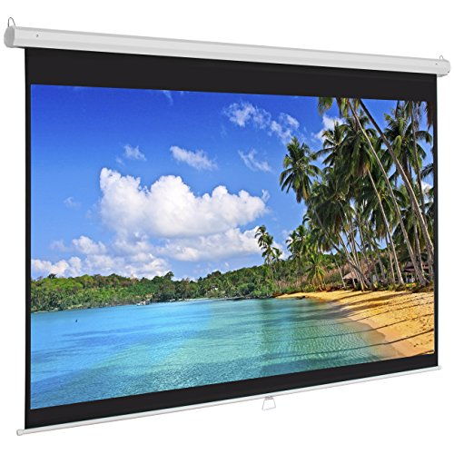 Best Choice Products 119in HD Indoor Pull-Down Manual Widescreen Projector Screen for Home Theater, Office - White