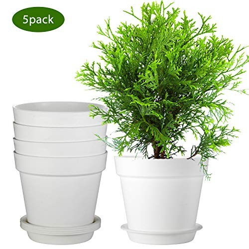 ZOUTOG Plant Pots, 9.5 Inch White planters for Indoor Plants, Planters for Flowers, Snake Plants, African Violets, Pack of 5, Plants not Included