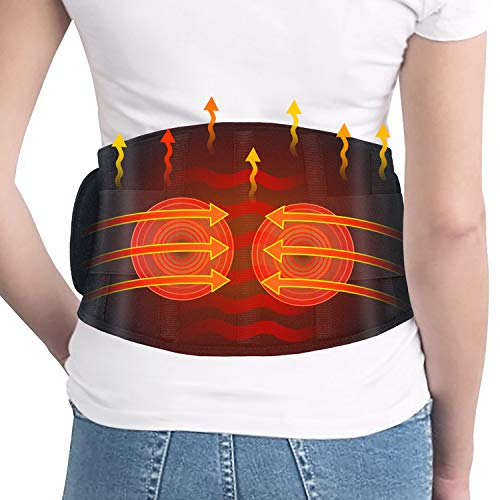Heating Pad for Back Pain- Dreamegg Heating Pad for Lower Back Pain Relief with Vibration, Fast Heated Massage Pad with Adjustable Belt, Rechargeable Battery, Heating Waist Belt for Abdominal Cramps