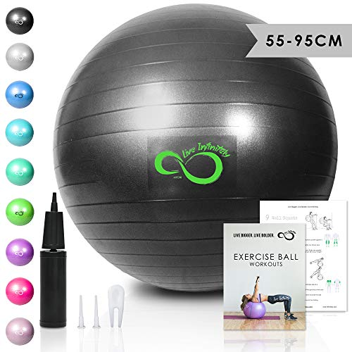 Live Infinitely Exercise Ball (55cm-95cm) Extra Thick Professional Grade Balance & Stability Ball- Anti Burst Tested Supports 2200lbs- Includes Hand Pump & Workout Guide Access (Grey, 65 cm)