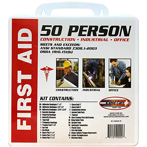 Rapid Care First Aid RC-50MAN-W 50 Person 233 Piece ANSI/OSHA Compliant First Aid Kit in Wall Mountable Poly Case