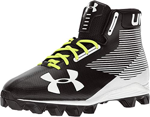 Under Armour Men's Hammer Mid RM Football Shoe, Black (011)/White, 10.5