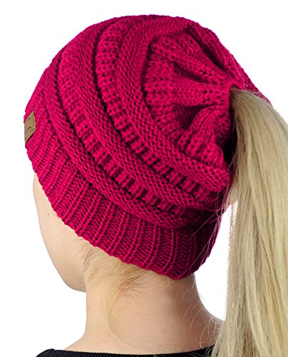 C.C BeanieTail Soft Stretch Cable Knit Messy High Bun Ponytail Beanie Hat, Hot Pink