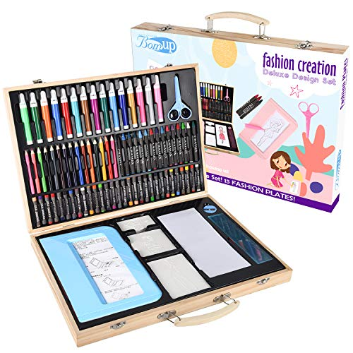 Fashion Plates Designer Kits, 129 Piece Deluxe Kit, Rubbing Plate Activity Kit Drawing Set in Wooden Case(Arts & Crafts, 15 Double-Sided Plates, 75 Colored Pencils, Rubbing Crayon) Gift for Girls-Blue