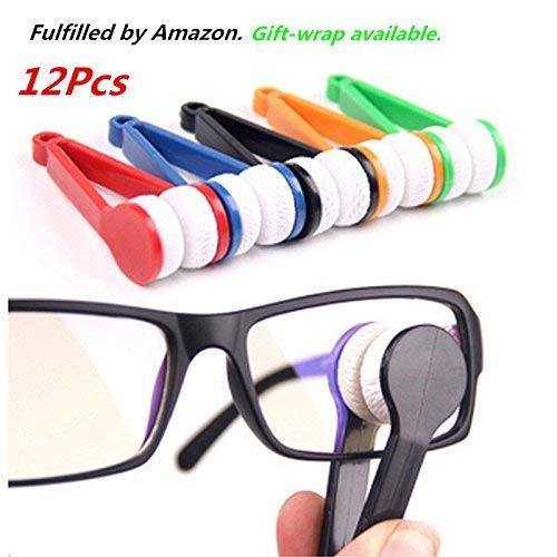 12 pcs Mini Sun Glasses Eyeglass Microfiber Spectacles Cleaner Brush Cleaning Tool,Random Color (12)