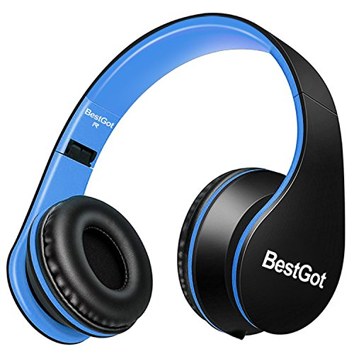 BestGot Children Kids Headphones for Kids Boys Adult with Microphone Volume Control Foldable Headset with 3.5mm Plug Removable Cord (Black/Blue)