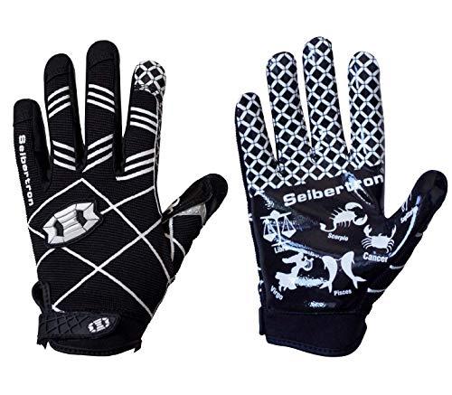 Seibertron Pro 3.0 Twelve Constellations Elite Ultra-Stick Sports Receiver Glove Football Gloves Youth Black M