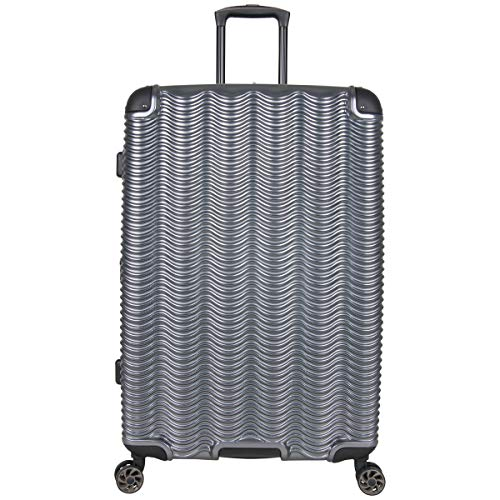 Kenneth Cole Reaction Wave Rush 28' Lightweight Hardside 8-Wheel Spinner Expandable Checked Suitcase, Metallic Charcoal, Inch