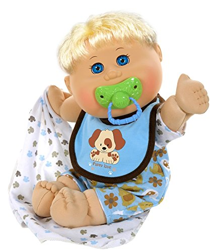 Cabbage Patch Kids 12.5' Naptime Babies - Blonde Hair/Blue Eye Boy Baby Doll (Dog Jumper Fashion)