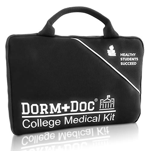 College First Aid Medical Kit Graduation Dorm Essential - Complete 125 Piece Kit First Aid 6 OTC Meds Pharmacist Designed