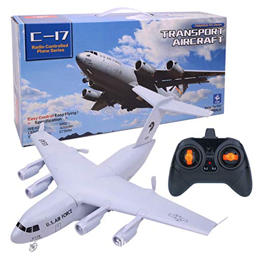 SPLLEADER C-17 RC Airplane EPP DIY Remote Controlled Plane 2 Channels 2.4Ghz 3-Axis Gyro Airplane Controller Beginner Toy,Remote Control Distance: About 150-300 Meters