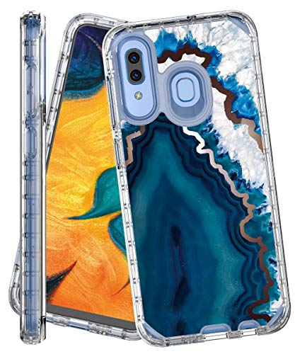 IN4U Galaxy A30 Case,Galaxy A20 Case, Full Body Military Grade Shockproof 3in1 Marble Design 360 Protective Cover for Samsung Galaxy A30 / A20 / A50 Case (Blue Crystal Agate)