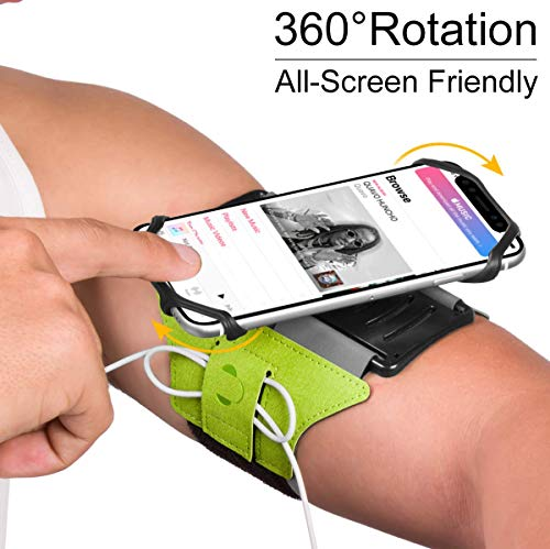 VUP Running Armband for iPhone 11 Pro Max X XR XS 8 7 6 6s Plus,Galaxy S10 S9 S8 Plus, Note 9/8/5/4,Google Pixel 3/2 XL,180°Rotatable with Key Holder Phone Armband for Hiking Biking Walking(Green)