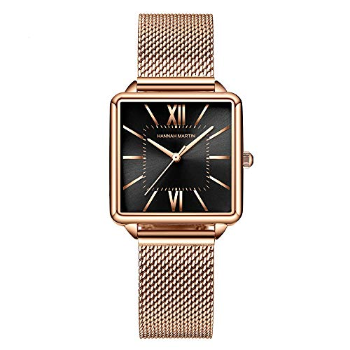 Ladies Classic Quartz Watch, Gold Analog Watch, Fashion Simple Waterproof Watch with Mesh Stainless Steel Watchband, Casual Dress Watch (Black)