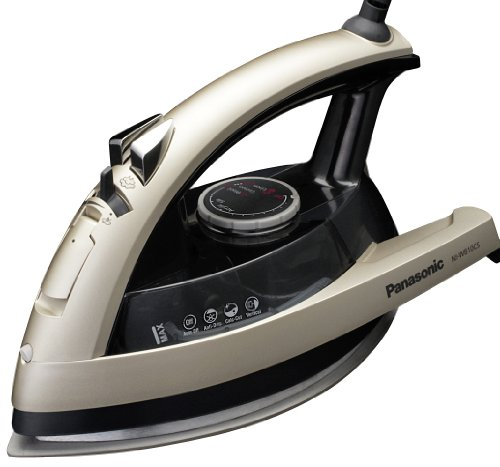 Panasonic Dry and Steam Iron with Ceramic Soleplate, Fabric Temperature Dial and Safety Auto Shut Off – 1500 Watt Multi Directional Iron – NI-W810CS (Champagne),Medium,,Black