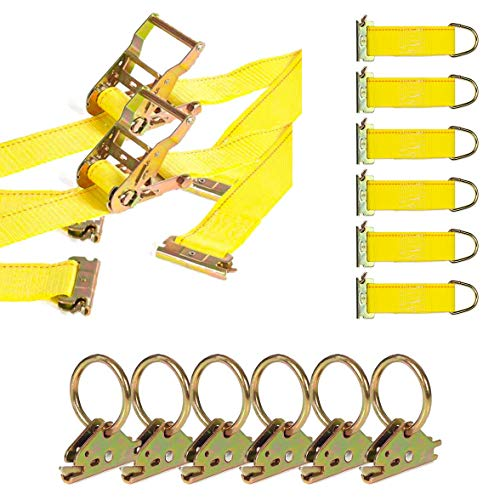 DC Cargo Mall E Track Tie-Down Kit - 8 Pieces: E-Track Accessories | Includes 12 ft E Track Straps and O-Rings (E-Track Rails NOT Included)