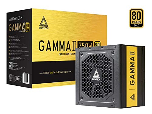 Montech Gamma II Power Supply 750W 80+ Gold Certified PSU, LLC+DC to DC Technology, Japanese Capacitors, 120mm Silent Fan, Flat Cables