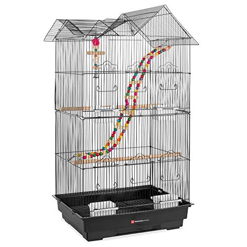 Best Choice Products 36in Indoor/Outdoor Iron Bird Cage for Medium Small Birds, Parrot, Lovebird, Finch, Parakeets, Cockatiel Enclosure w/Removable Tray, 4 Feeders, 2 Toys