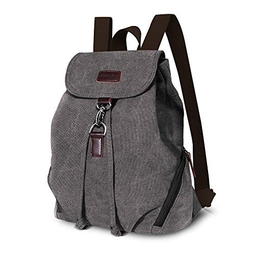 AtailorBird Mini Backpack Purse for Women, Canvas Vintage Anti-theft Rucksack Casual Travel Daypack Satchel Bag for Girls, Gray